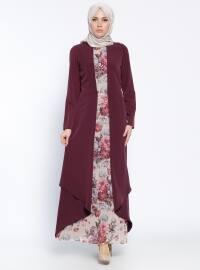 Kemerli Elbise - Mürdüm - Sevilay Giyim