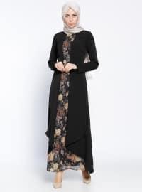 Kemerli Elbise - Siyah - Sevilay Giyim