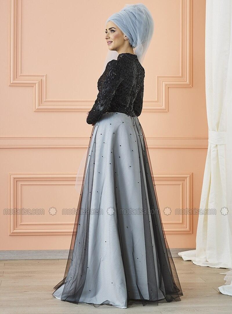 Silver tone - Fully Lined - Crew neck - Muslim Evening Dress - Mevra