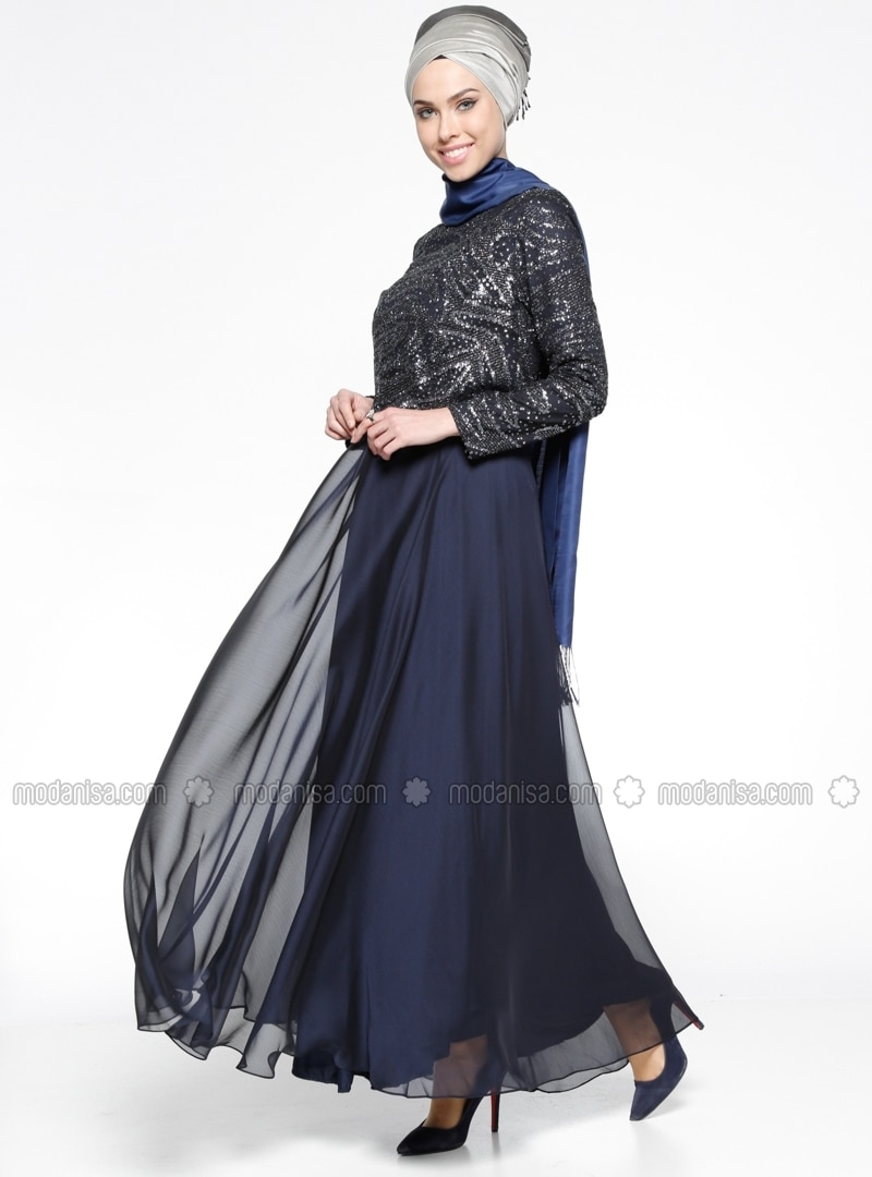 Navy Blue Gold Fully Lined Crew Neck Muslim Evening Dress