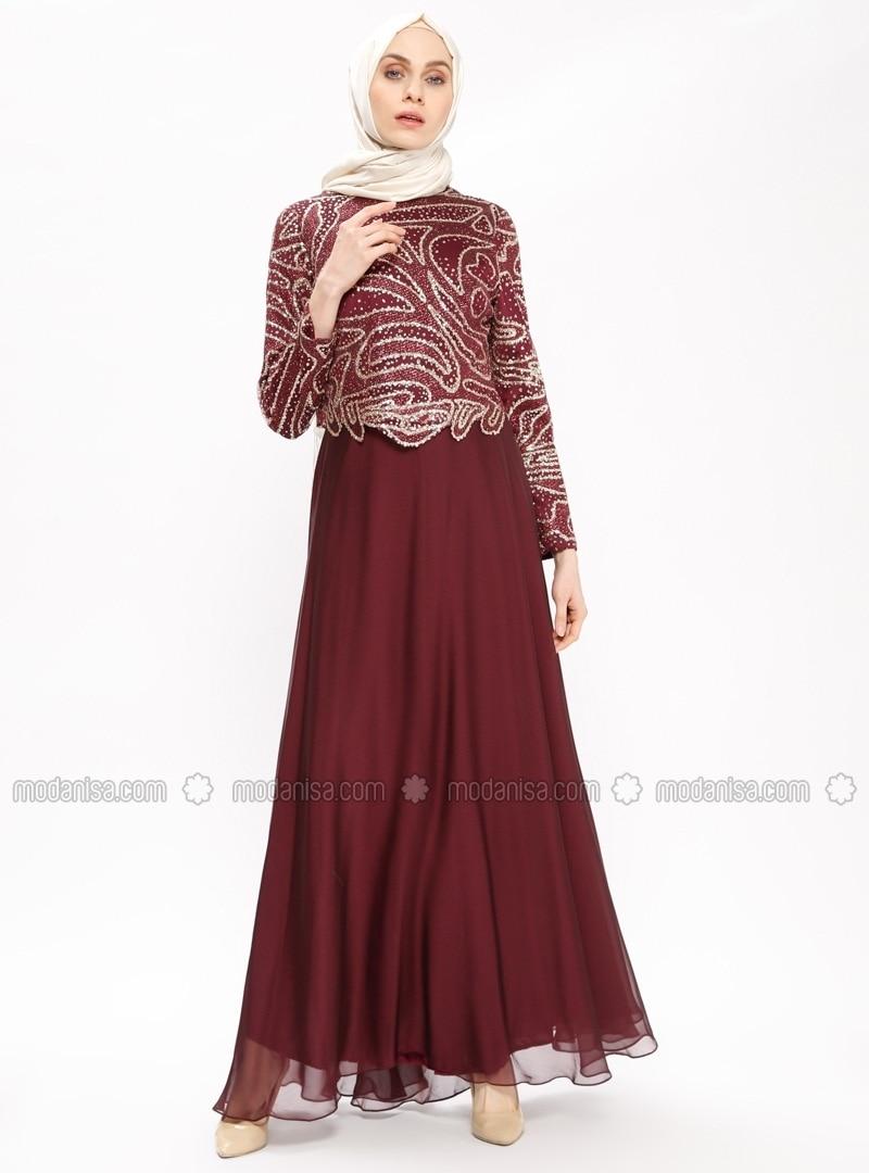 a722365d1a7 Purple - Maroon - Gold - Fully Lined - Crew neck - Muslim Evening Dress.  Fotoğrafı büyütmek için tıklayın