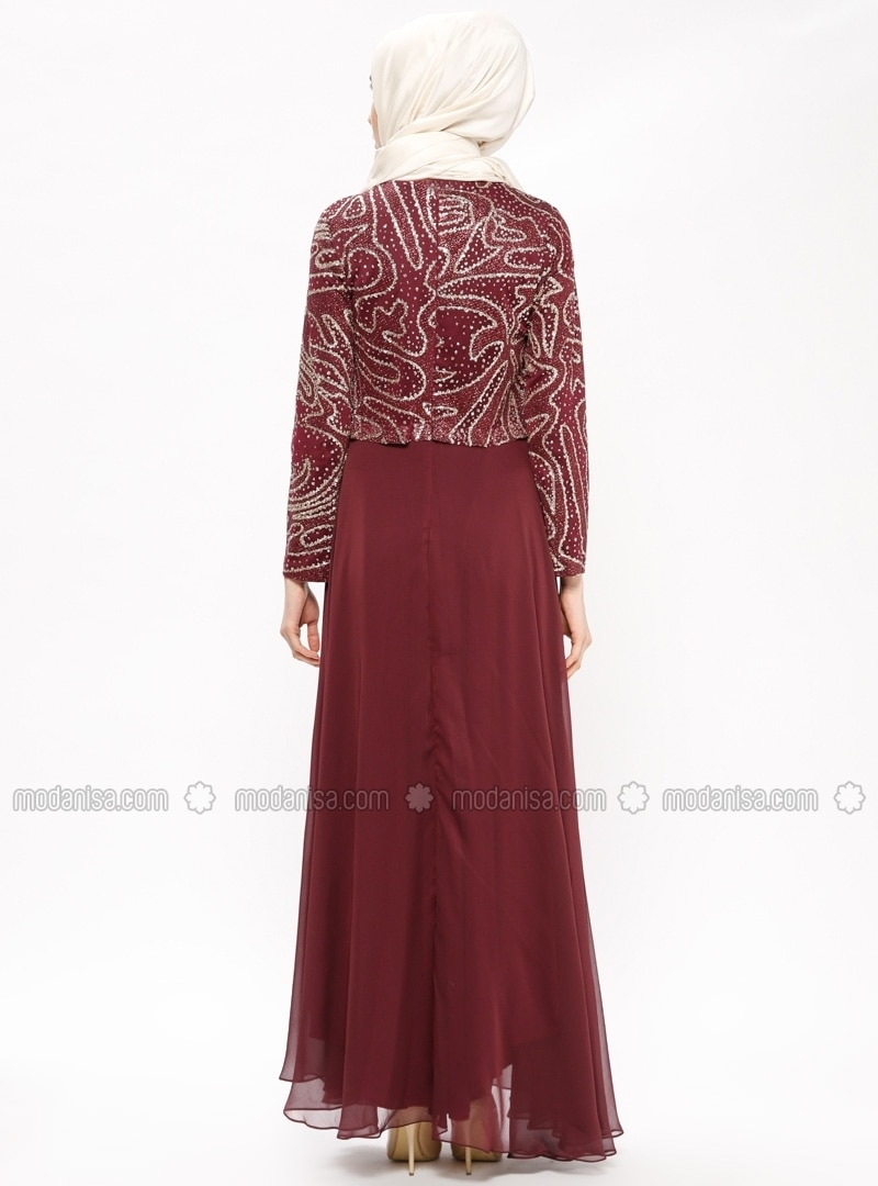 9646ee0d006 Purple - Maroon - Gold - Fully Lined - Crew neck - Muslim Evening Dress