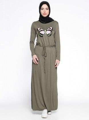 Beli Lastikli Elbise - Haki Moonlight
