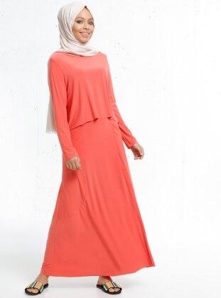 Cep Detaylı Elbise - Yavruağzı