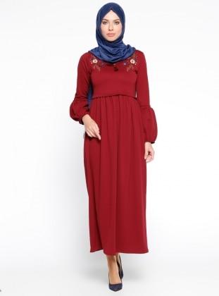 Nakış İşlemeli Elbise - Bordo Mileny
