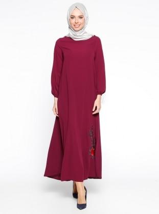 Nakış İşlemeli Elbise - Fuşya