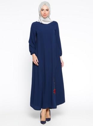 Nakış İşlemeli Elbise - Lacivert