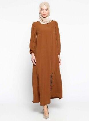 Nakış İşlemeli Elbise - Taba