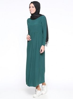 Piliseli Elbise - Zümrüt