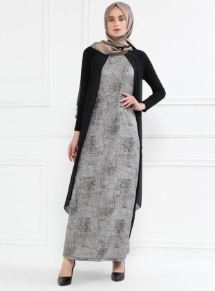 Şifon Detaylı Elbise - Siyah