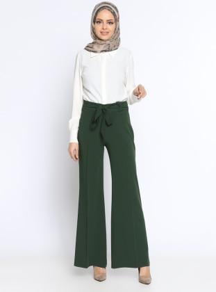 Bol Paça Pantolon - Yeşil Zinet