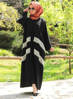 Dantel Detaylı Abaya - Siyah Melek Aydın