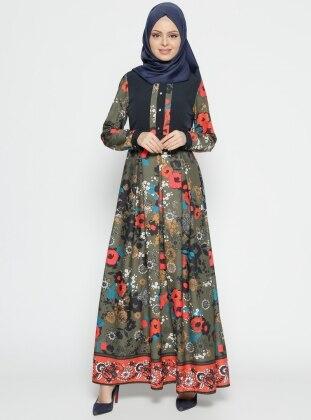 Etrucci Desenli Elbise - Haki Lacivert