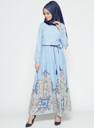 Etrucci Desenli Elbise - Mavi