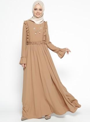 Fırfır Detaylı Elbise - Camel