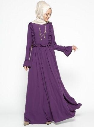 Fırfır Detaylı Elbise - Mor