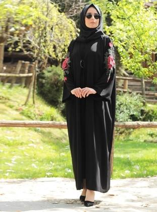Gül Detaylı Abaya - Siyah