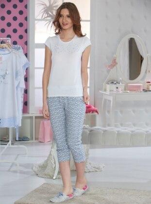 Kapri Pijama Takımı - Beyaz - Sevim