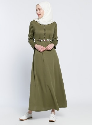 Kemerli Elbise - Haki Dadali