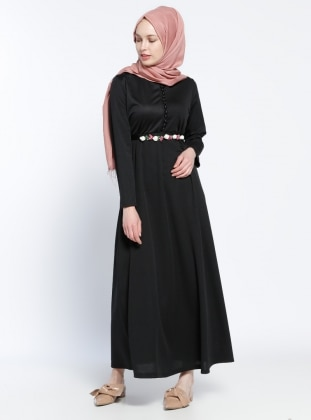 Black - Crew neck - Unlined - Dress - Dadali 289154