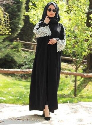 Kolu Dantel Detaylı Abaya - Siyah
