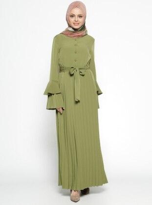 Piliseli Elbise - Yeşil