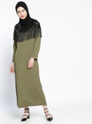 Püskül Detaylı Elbise - Haki Dadali