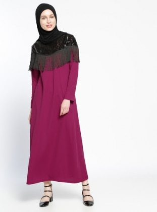 Purple - Crew neck - Unlined - Dress - Dadali 289151