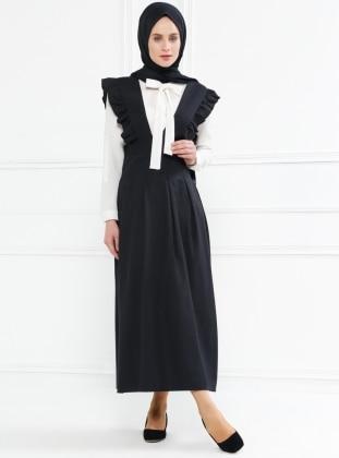 Salopet Elbise - Siyah