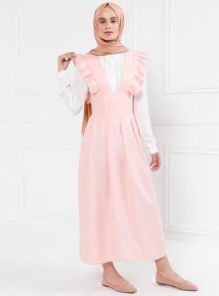Salopet Elbise - Pudra