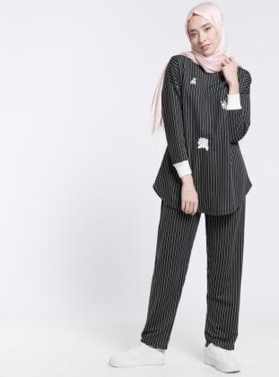 Tunik&Pantolon İkili Takım - Siyah Beyaz Benin