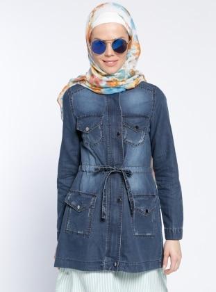 Çıtçıtlı Kot Ceket - Koyu Mavi