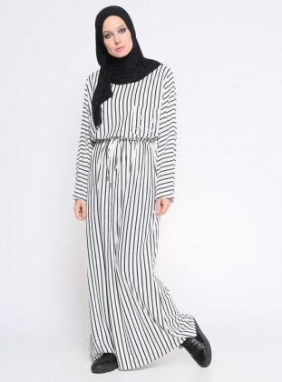 Çizgili Elbise - Beyaz Siyah Casual By Dide