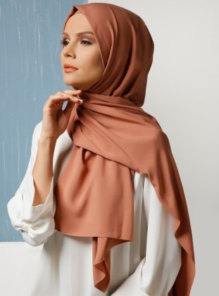 Tan - Plain - Cotton - Shawl