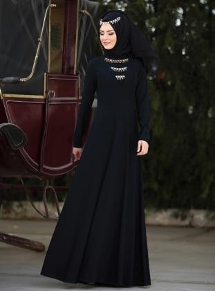 Kafkas Abiye Elbise - Siyah