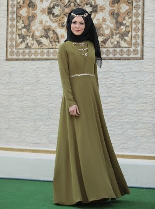 Kafkas Abiye Elbise - Yeşil Sema Şimşek