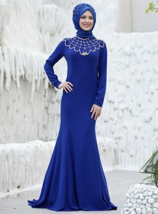Omuz Detaylı Abiye Elbise - Saks