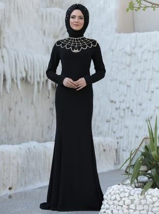 Omuz Detaylı Abiye Elbise - Siyah