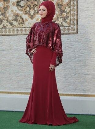 Pelerinli Lida Abiye Elbise - Bordo