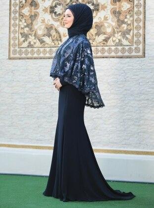 Pelerinli Lida Abiye Elbise - Lacivert