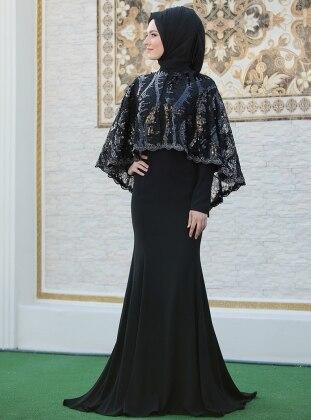 Pelerinli Lida Abiye Elbise - Siyah