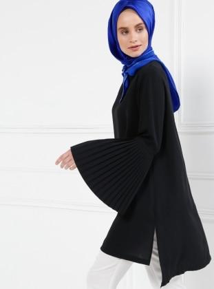 Pilise Detaylı Tunik - Siyah
