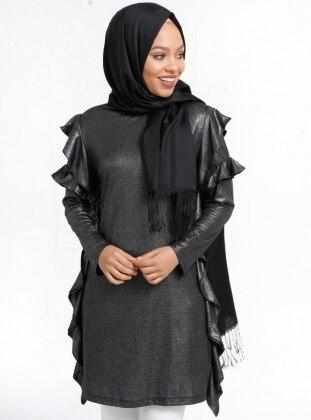 Simli Tunik - Siyah Gümüş