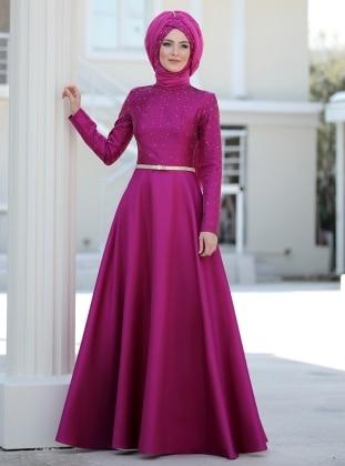 Sema Şimşek Azem Abiye Elbise - Fuşya