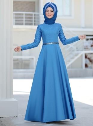 Azem Abiye Elbise - İndigo