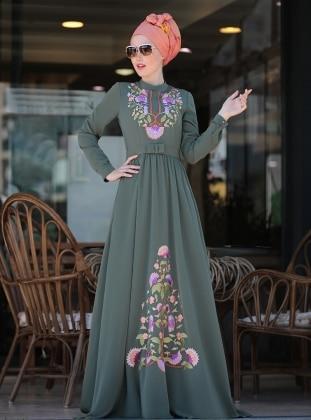 Cess Nakışlı Elbise - Haki