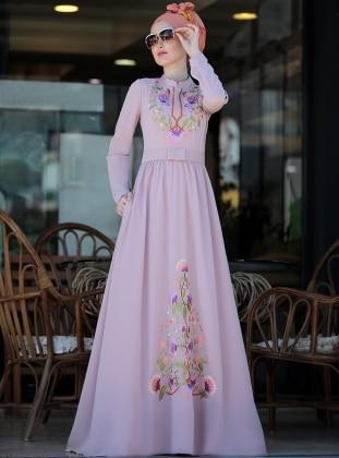 Selma Sarı Design Cess Nakışlı Elbise - Pudra