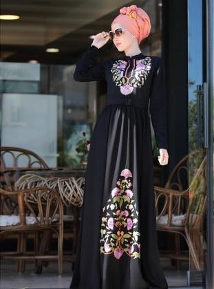 Cess Nakışlı Elbise - Siyah