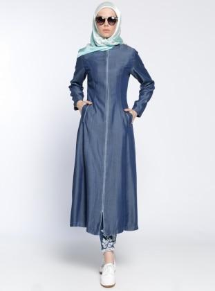 Fermuarlı Kot Pardesü - Mavi