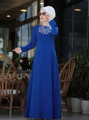 İrem Nakışlı Elbise - Saks